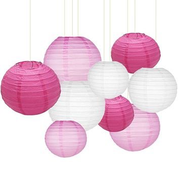"""Sonnis Paper Lanterns 12""""10"""" 8""""Round lanterns Chinese/Japanese Paper Hanging Decorations Ball Lanterns Lamps for Birthday Wedding Baby Showers Party Decorations (9pack,Rose Red, Pink, White)"""