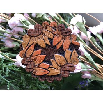 Hand Tooled Sunflowers Pop Up Phone Holder for Cell Phone