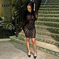 2016 Women Dress Sexy Long Sleeve Mesh Patchwork Black Sequin Pencil Midi Dress Sexy Club Night  Bandage Bodycon Party Dresses