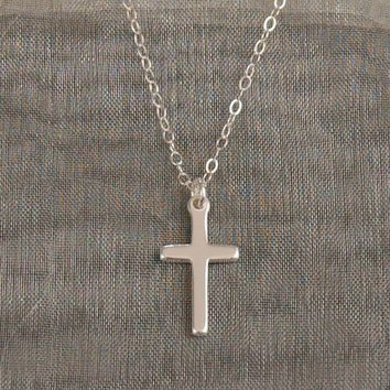 Silver Cross Necklace, Cross Necklace, Tiny Silver Cross, Small Cross, Thin Silver Chain, Wedding Jewelry