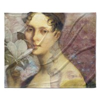 "Suzanne Carter ""Magnolia Dream"" Black Pink Fleece Throw Blanket"