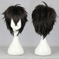 Sexy Design 32CM Long Short Black male wig anime karneval-GAREKI Elastic Wig Cap Cosplay Wig,Colorful Candy Colored synthetic Hair Extension Hair piece 1pcs WIG-339A