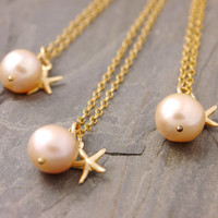 Bridesmaid Gift Set of 2 to 10 - pink pearl necklace, single pearl, bridesmaid jewelry, bridesmaid necklace, gold necklace, bridal, BR