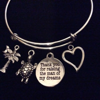 CUSTOM Mother In Law Charm Bangle Adjustable Expandable Thank you for Raising the Man of My Dreams Meaningful Wedding Gift
