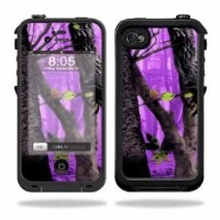 Mightyskins Protective Vinyl Skin Decal Cover for LifeProof iPhone 4 / 4S Case wrap sticker skins Purple Tree Camo