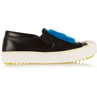 Fendi - Faux shearling-trimmed leather slip-on sneakers