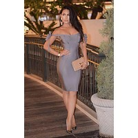 Solaine slay grey off shoulder bandage dress