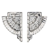 Deco Crystal Fan Earrings | BEN-AMUN