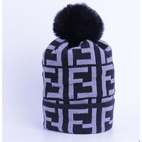 FENDI Hot Sale FF Letter Jacquard Knit Warm Hat Wool Cap