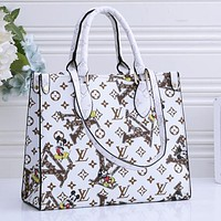 Samplefine2 Louis Vuitton Mickey LV Monogram Crossbody Bag Handbag Square Bag Shopping Bag White
