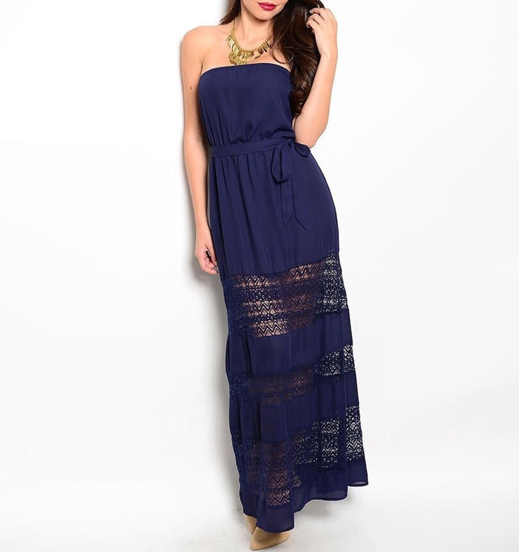 Image of Strapless Lace Detailed Blouson Maxi Dress in Navy Blue
