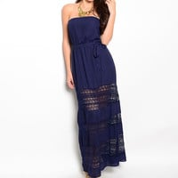 Strapless Lace Detailed Blouson Maxi Dress in Navy Blue