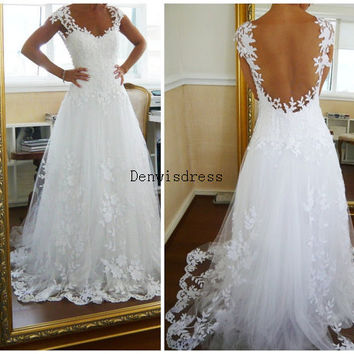 A-line V-neck Cap Sleeves Court Train White Ivory Lace Tulle Appliques Backless Wedding Dresses Wedding Gown Bridal Dresses Bridal Gown