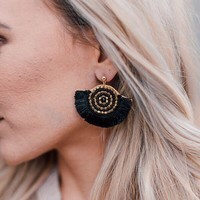 Tassel Fan Earrings - Black