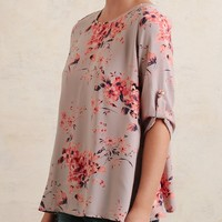 Addison Floral Blouse In Gray