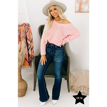 From Time To Time V-Neck Popcorn Sweater (Pink)