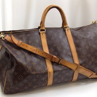 Auth Louis Vuitton Monogram Keepall Bandouliere 55 Hand Bag Vintage 7K220470K