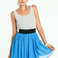 STRIPED COLOR BLOCK BAND DRESS