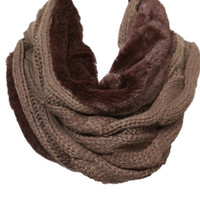 Cable knit Fur Infinity Scarf