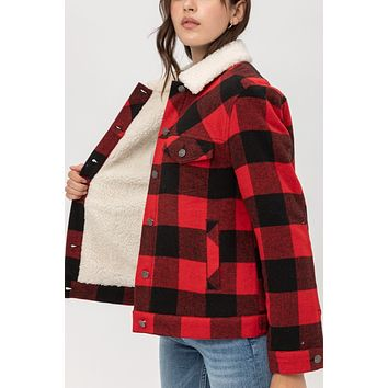 Faux Fur Sherpa Lined Plaid Trucker Jacket