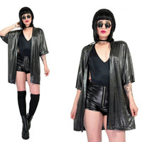 vintage 90s oversized jacket silver metallic club kid gothic liquid lame cyber goth soft grunge duster top small medium