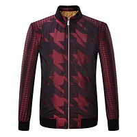 Stand Collar Houndstooth Padded Jacket Coat for Man 6013
