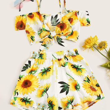 Sunflower Print Knot Front Cami Top With Shorts