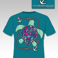 Sassy Frass Collection Preppy Paisley Turtle Anchor Bright Girlie T Shirt