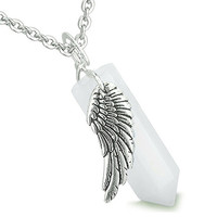 Amulet Angel Wing Magic Wand Crystal Point Snowflake Quartz Healing Pendant 18 Inch Necklace