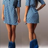 Blue Polka Dot Draped Band Collar Elbow Sleeve Mini Dress