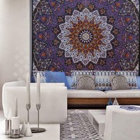Penelope Purple Bohemian Boho Mandala Beach Bed Wall Tapestry