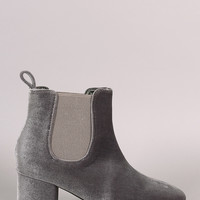 Elastic Gore Block Heeled Ankle Boots