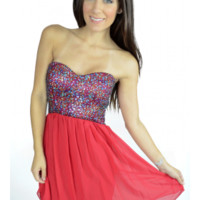 The Strapless Red Sequin Dress