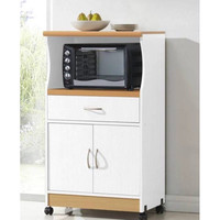 White Microwave Cart On Wheels with Kitchen Drawer & Shelf Space