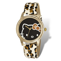 Hello Kitty Gold-tone Leopard Print Faux Leather Watch