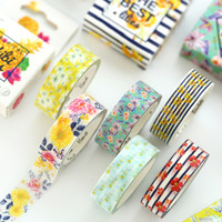 1.5CM Wide Sumer Flower Washi Tape Adhesive Tape DIY Scrapbooking Sticker Label Floral Masking Tape