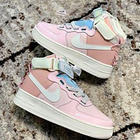 Nike Air Force 1 AF1 High-Top Women's All-match Color Block Sneakers Shoes