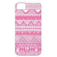 White Pink Girly Aztec Geometric Pattern iPhone 5 Cases