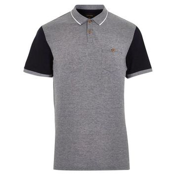 Two-Tone Navy and Grey Polo Shirt