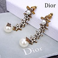 DIOR Fashion Women Chic Shiny Diamond Star Pearl Pendant Earrings Jewelry Accessories