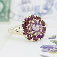 Antique Amethyst Ring | 1930s Ring | Art Deco Ring | Alternative Engagement Ring | February Birthstone Ring | 10k Yellow Gold Ring | Size 6