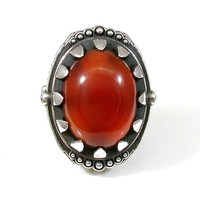 Egyptian Revival Sterling Silver and Carnelian Cocktail Ring