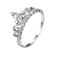 Jewels Obsession Dainty Rhodium-plated Sterling Silver Crown Ring / Princess Ring