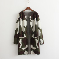 Camouflage Long-Sleeve Knitted Cardian