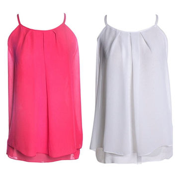 Women Plus Size Tank Tops Double Layer Spaghetti Strap Ruffles Chiffon Shirts Vest = 1958566788