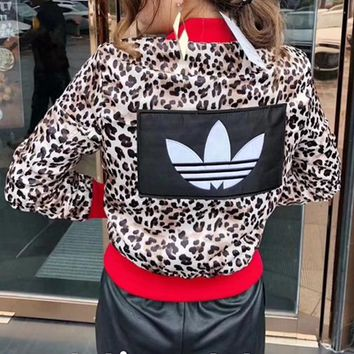 """Adidas"" Women Fashion Letter Logo PU Skin Short Section  Cardigan Zip Jacket Long Sleeve Coat"