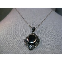 "Vintage Sterling Silver Marcasite & Inlaid Onyx Necklace, 16"", 3.75 grams"
