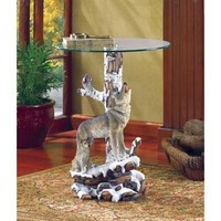 Wolf Accent Table With Glass Tabletop