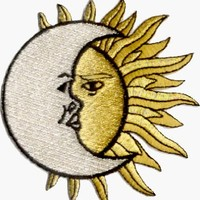 Crescent Moon over Sun- Embroidered Iron On or Sew On Patch (Celestial)