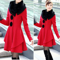 New Style Winter Women's Coat Skirt Long Sleeves Solid Color Fashion Faux Fur Collar Wool Coat = 1930333380